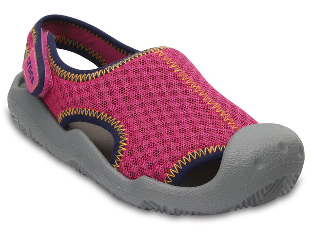 Crocs Swiftwater Sandals Kids Neon Pink/Smoke